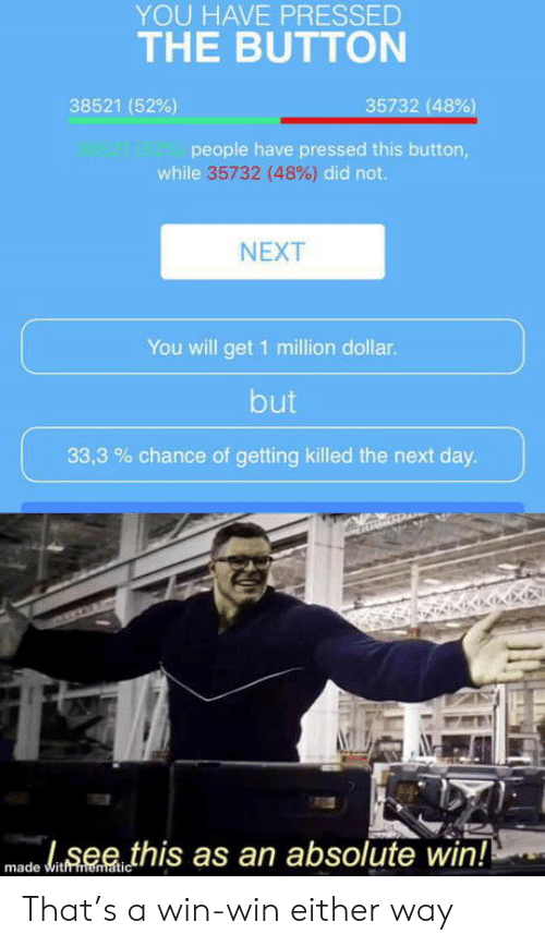 Pressed: YOU HAVE PRESSED  THE BUTTON  35732 (48%)  38521 (52%)  98521 48221people have pressed this button,  while 35732 (48%) did not.  NEXT  You will get 1 million dollar.  but  33,3 chance of getting killed the next day.  see this as an absolute win!!  made witfmematic That's a win-win either way