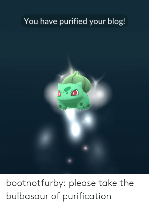 bulbasaur: You have purified your blog! bootnotfurby: please take the bulbasaur of purification