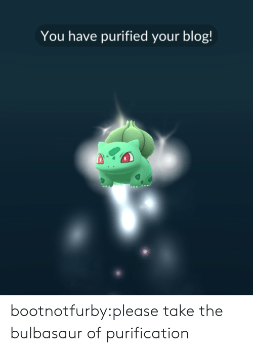 bulbasaur: You have purified your blog! bootnotfurby:please take the bulbasaur of purification