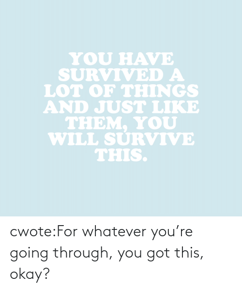 survived: YOU HAVE  SURVIVED A  LOT oF THINGS  AND JUST LIKE  THEM. YoU  WILL SURVIVE  THIS. cwote:For whatever you're going through, you got this, okay?