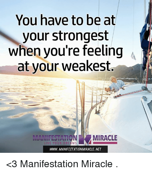 memes: You have to be at  your strongest  when you're feeling A  at your weakest  MIRACLE  LIVE YOUR DREAMS  WWW. MANIFESTATIONMIRACLE, NET <3 Manifestation Miracle  .