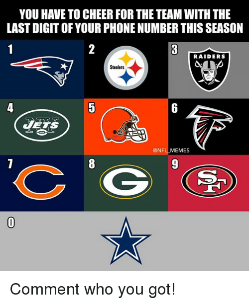 Cheerfulness: YOU HAVE TO CHEER FOR THE TEAM WITH THE  LAST DIGIT OF YOUR PHONE NUMBER THIS SEASON  RAIDERS  Steelers  VETS  @NFL MEMES Comment who you got!