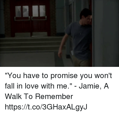 """Fall, Love, and Memes: """"You have to promise you won't fall in love with me."""" - Jamie, A Walk To Remember https://t.co/3GHaxALgyJ"""