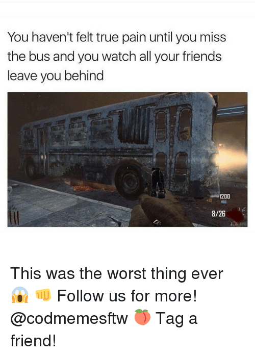 Memes, The Worst, and 🤖: You haven't felt true pain until you miss  the bus and you watch all your friends  leave you behind  1200  13D  8/26 This was the worst thing ever 😱 👊 Follow us for more! @codmemesftw 🍑 Tag a friend!