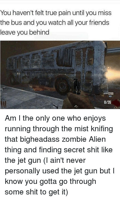 Friend Leaving: You haven't felt true pain until you miss  the bus and you watch all your friends  leave you behind  1200  8/26 Am I the only one who enjoys running through the mist knifing that bigheadass zombie Alien thing and finding secret shit like the jet gun (I ain't never personally used the jet gun but I know you gotta go through some shit to get it)