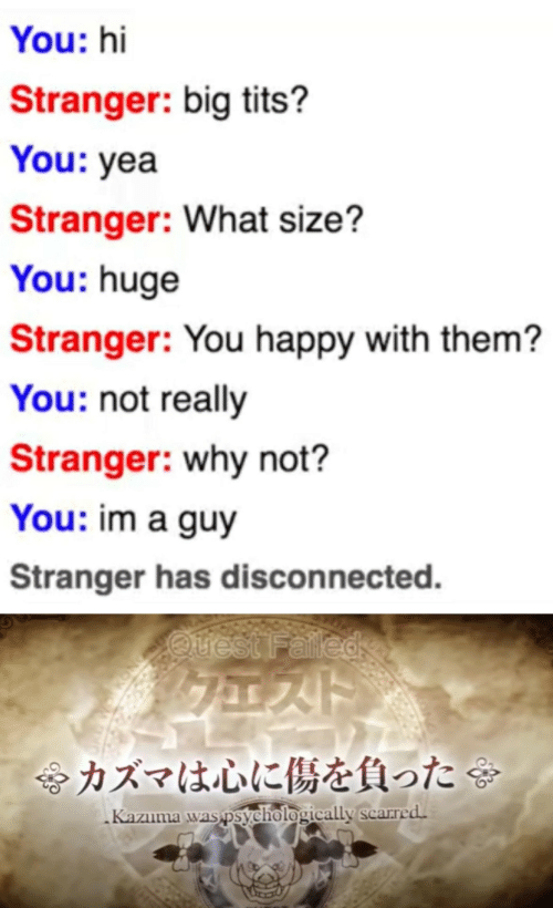 Quest: You: hi  Stranger: big tits?  You: yea  Stranger: What size?  You: huge  Stranger: You happy with them?  You: not really  Stranger: why not?  You: im a guy  Stranger has disconnected.  Quest Falled  令カズマは心に傷を負った  Kazuma was psychologically scarred.
