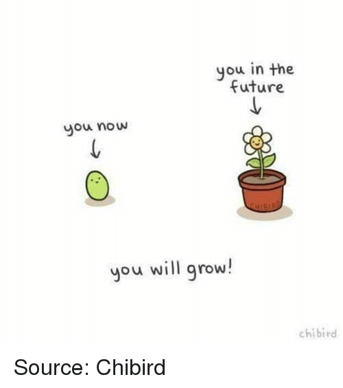 Future, Source, and Grow: you in the  future  you now  you will grow!  chibird Source: Chibird