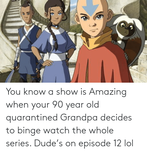 dude: You know a show is Amazing when your 90 year old quarantined Grandpa decides to binge watch the whole series. Dude's on episode 12 lol