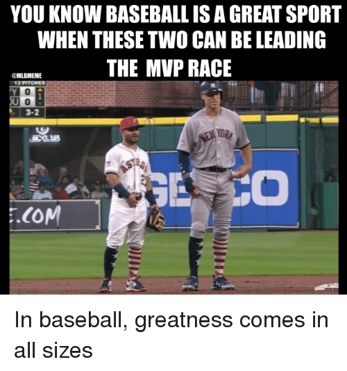 Baseball, Mlb, and Race: YOU KNOW BASEBALL IS A GREAT SPORT  WHEN THESE TWO CAN BE LEADING  THE MVP RACE  MLBMEME  12 PITCHES  3-2 In baseball, greatness comes in all sizes