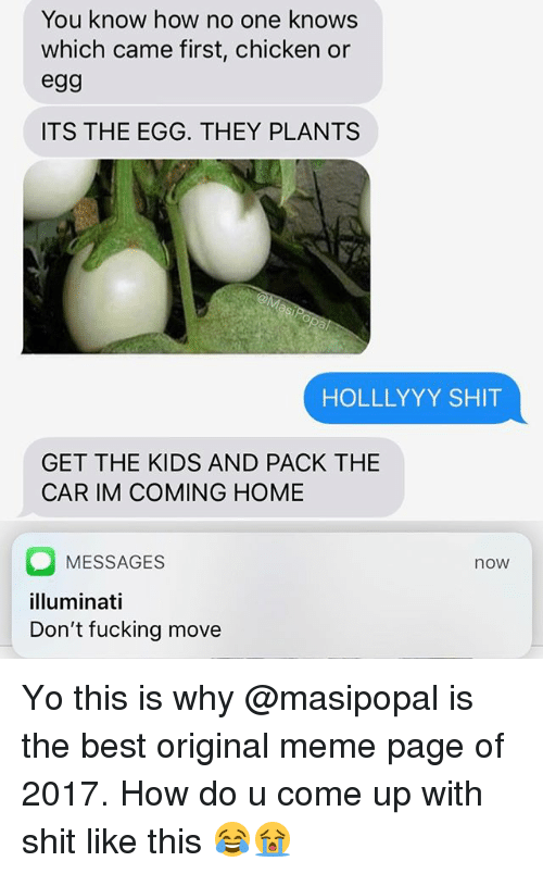 Fucking, Funny, and Illuminati: You know how no one knows  which came first, chicken or  egg  ITS THE EGG. THEY PLANTS  HOLLLYYY SHIT  GET THE KIDS AND PACK THE  CAR IM COMING HOME  MESSAGES  illuminati  Don't fucking move  now Yo this is why @masipopal is the best original meme page of 2017. How do u come up with shit like this 😂😭