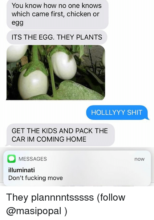 Fucking, Funny, and Shit: You know how no one knows  which came first, chicken or  egg  ITS THE EGG. THEY PLANTS  HOLLLYYY SHIT  GET THE KIDS AND PACK THE  CAR IM COMING HOME  MESSAGES  lluminati  Don't fucking move  now They plannnntsssss (follow @masipopal )