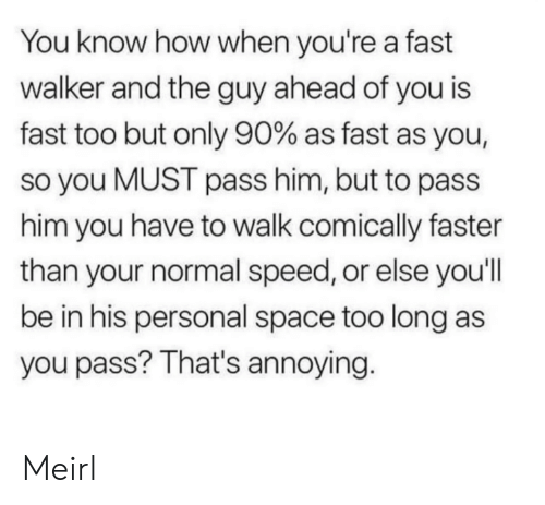 walker: You know how when you're a fast  walker and the guy ahead of you is  fast too but only 90% as fast as you,  so you MUST pass him, but to pass  him you have to walk comically faster  than your normal speed, or else you'll  be in his personal space too long as  you pass? That's annoying. Meirl