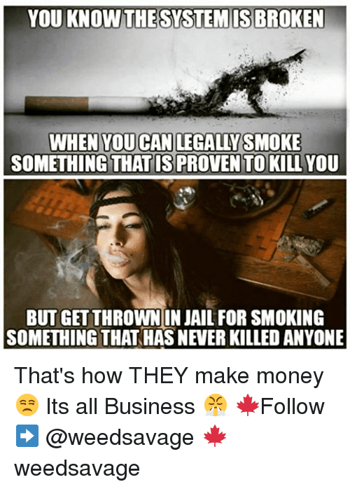 Jail, Memes, and Money: YOU KNOW ISBRO  WHEN YOU CAN LEGALLY SMOKE  SOMETHING THAT IS PROVEN TO KILL YOU  BUTGETTHROWN IN JAIL FOR SMOKING  SOMETHING THAT HAS NEVER KILLED ANYONE That's how THEY make money 😒 Its all Business 😤 🍁Follow ➡ @weedsavage 🍁 weedsavage