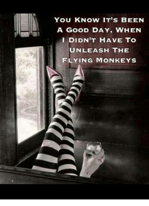 flying monkeys: YOU KNOW IT'S BEEN  A GOOD DAY, WHEN  I DIDN'T HAVE TO  UNLEASH THE  FLYING MONKEYS