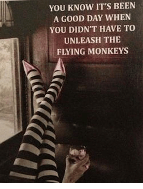 flying monkeys: YOU KNOW IT'S BEEN  A GOOD DAY WHEN  YOU DIDNT HAVE TO  UNLEASH THE  FLYING MONKEYS