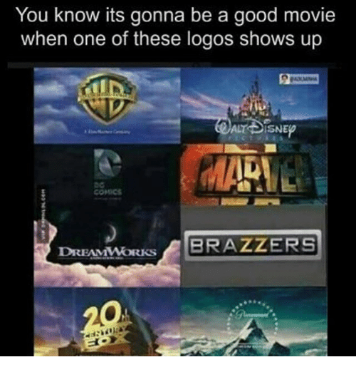 Memes, Brazzers, and 🤖: You know its gonna be a good movie  when one of these logos shows up  BRAZZERS  DREAMWORKS