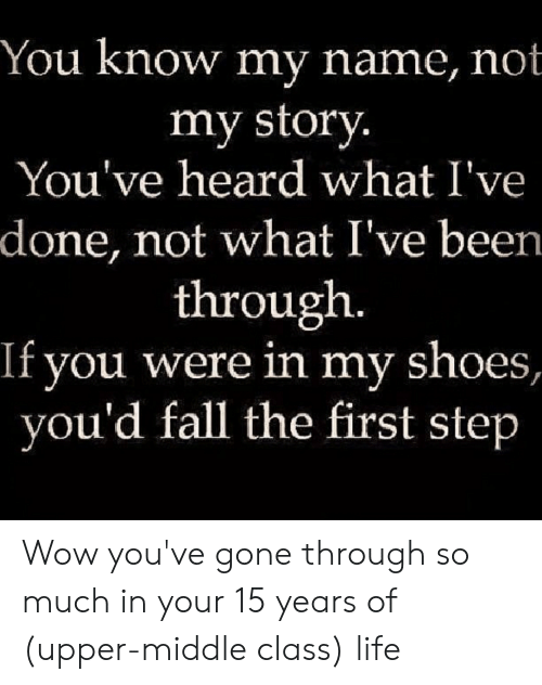 you know my name not my story: You know my name, not  my story.  You've heard what I've  done, not what I've been.  through.  If you were in my shoes,  you'd fall the first step Wow you've gone through so much in your 15 years of (upper-middle class) life