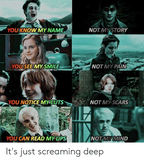 you know my name: 'YOU KNOW MY NAME  NOT MYSTORY  THECUNNINGSLYTHERIN G  YOUSEE MY SMILE  NOT MY PAIN  NOT MY SCARS  YOU NOTICE MY CUTS  NOT MY MIND  YOU CAN READ MYLIPS It's just screaming deep