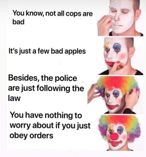 obey: You know, not all cops are  bad  It's just a few bad apples  Besides, the police  are just following the  law  You have nothing to  worry about if you just  obey orders