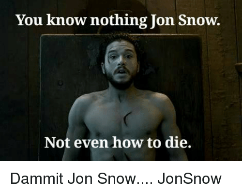 you know nothing jon snow: You know nothing Jon Snow.  Not even how to die. Dammit Jon Snow.... JonSnow
