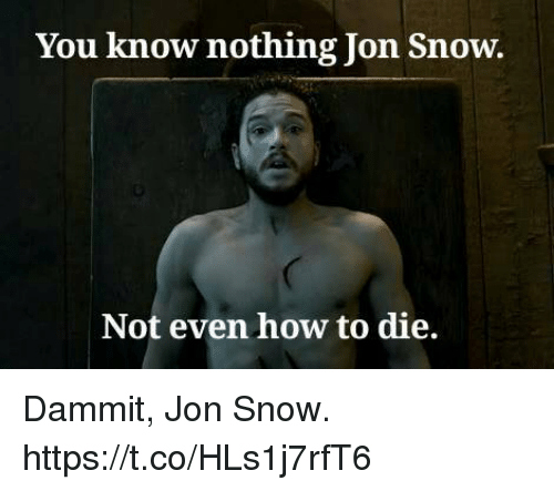 you know nothing jon snow: You know nothing Jon Snow.  Not even how to die. Dammit, Jon Snow. https://t.co/HLs1j7rfT6