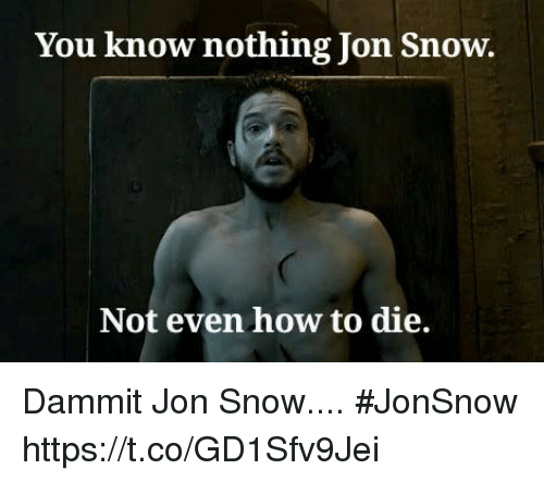 you know nothing jon snow: You know nothing Jon Snow.  Not even how to die. Dammit Jon Snow.... #JonSnow https://t.co/GD1Sfv9Jei