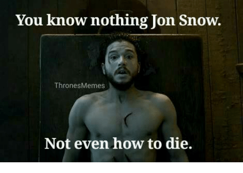 you know nothing jon snow: You know nothing Jon Snow.  Thrones Memes  Not even how to die.