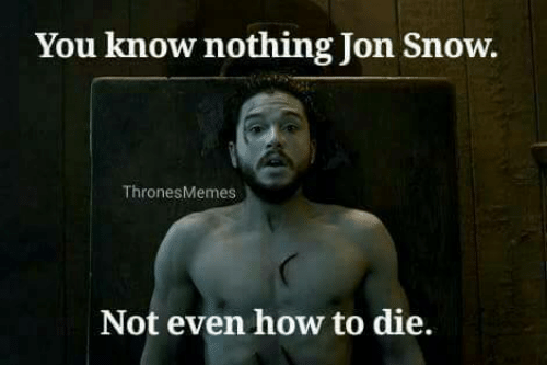 you know nothing jon snow: You know nothing Jon Snow  Thrones Memes  Not even how to die.