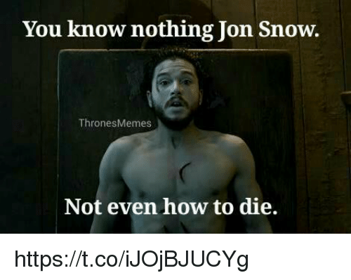 you know nothing jon snow: You know nothing Jon Snow  ThronesMemes  Not even how to die. https://t.co/iJOjBJUCYg