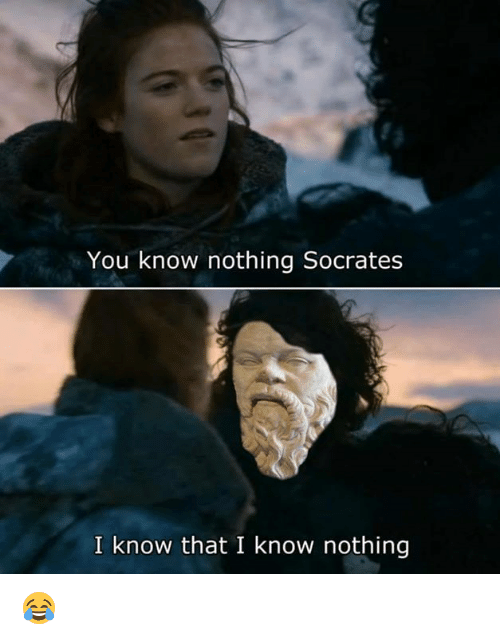 Memes, Socrates, and 🤖: You know nothing Socrates  I know that I know nothing 😂