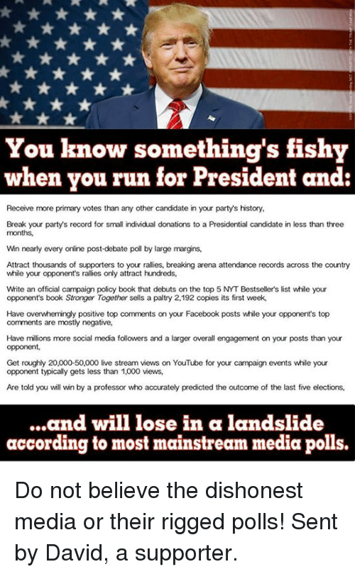 Somethings Fishy: You know something's fishy  when you run for President and  Receive more primary votes than any other candidate in your party's history,  Break your party's record for small individual donations to a Presidential candidate in less than three  months,  Win nearly every online post-debate poll by large margins,  Attract thousands of supporters to your rallies, breaking arena attendance records across the country  while your opponent's rallies only attract hundreds,  White an official campaign policy book that debuts on the top 5 NYT Bestseller's list while your  opponent's book Stronger Together sells a paltry 2,192 copies its first week,  Have overwhemingly positive top comments on your Facebook posts while your opponent's top  comments are mostly negative,  Have millions more social media followers and a larger overall engagement on your posts than your  opponent,  Get roughly 20,000-50,000 live stream views on YouTube for your campaign events while your  opponent typically gets less than 1,000 views,  Are told you will win by a professor who accurately predicted the outcome of the last five elections,  ...and will lose in a landslide  according to most mainstream media polls. Do not believe the dishonest media or their rigged polls! Sent by David, a supporter.