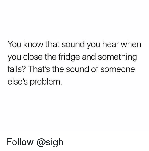 Trendy, Fridge, and Sound: You know that sound you hear when  you close the fridge and something  falls? That's the sound of someone  else's problem Follow @sigh
