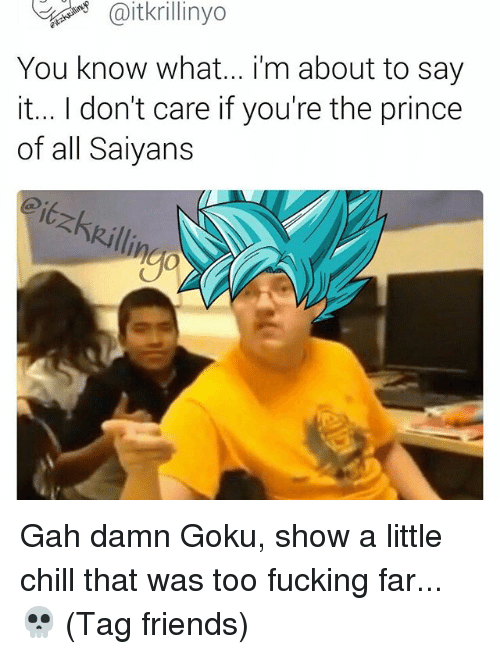 Fandom, Damned, and Show: You know what... im about to say  it... I don't care if you're the prince  of all Saiyans Gah damn Goku, show a little chill that was too fucking far... 💀 (Tag friends)