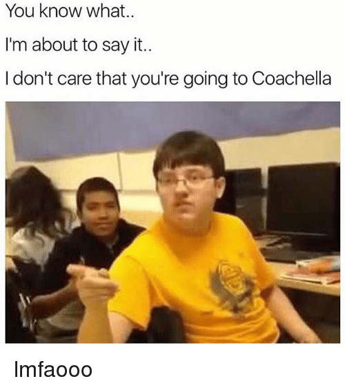 Coachella, Memes, and Say It: You know what..  I'm about to say it..  I don't care that you're going to Coachella lmfaooo