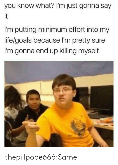 Killing Myself: you know what? I'm just gonna say  it  I'm putting minimum effort into my  life/goals because I'm pretty sure  I'm gonna end up killing myself thepillpope666:Same