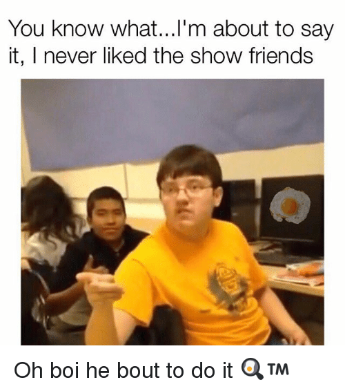 Memes, 🤖, and Boi: You know what...l'm about to say  it, I never liked the show friends Oh boi he bout to do it 🍳™