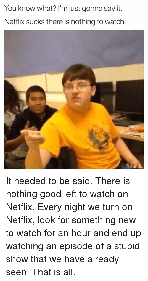 Funny, Netflix, and Say It: You know what? l'm just gonna say it  Netflix sucks there is nothing to watch It needed to be said. There is nothing good left to watch on Netflix. Every night we turn on Netflix, look for something new to watch for an hour and end up watching an episode of a stupid show that we have already seen. That is all.