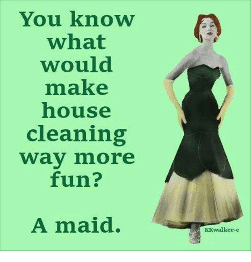 House Cleaning: You know  what  would  make  house  cleaning  way more  fun?  A maid.  KK walker-c