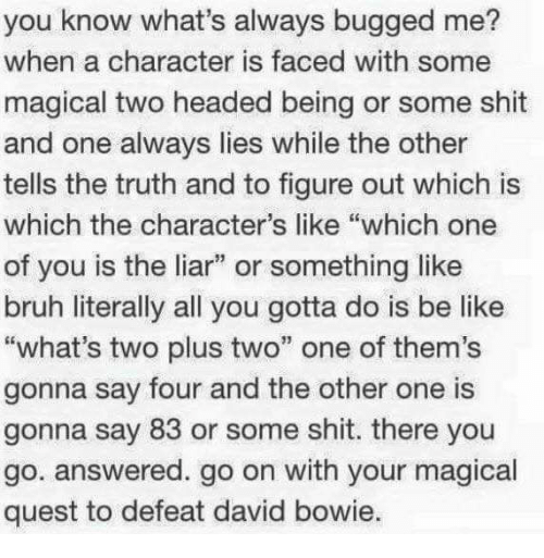 """Memes, Quest, and 🤖: you know what's always bugged me?  when a character is faced with some  magical two headed being or some shit  and one always lies while the other  tells the truth and to figure out which is  which the character's like """"which one  of you is the liar"""" or something like  bruh literally all you gotta do is be like  """"what's two plus two"""" one of them's  gonna say four and the other one is  gonna say 83 or some shit. there you  go. answered. go on with your magical  quest to defeat david bowie"""