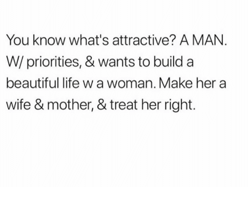 Treat Her Right: You know what's attractive? A MAN.  W/ priorities, & wants to build a  beautiful life w a woman. Make her a  wife & mother, & treat her right.
