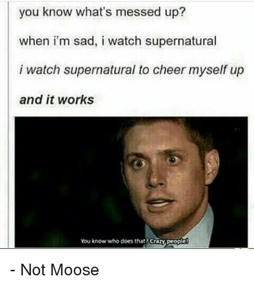 Memes, Supernatural, and Cheerfulness: you know what's messed up?  when i'm sad, i watch supernatural  i watch supernatural to cheer myself up  and it works  you know who does that? Crary people - Not Moose