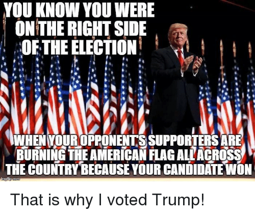 Memes, Candide, and 🤖: YOU KNOW YOU WERE  ON THE RIGHT SIDE  OF THE ELECTION  WHEN YOUROPPONENTS SUPPORTERS ARE  BURNING THE AMERICAN FLAGALLACROSS  THE COUNTRY BECAUSE YOUR CANDIDATE WON That is why I voted Trump!