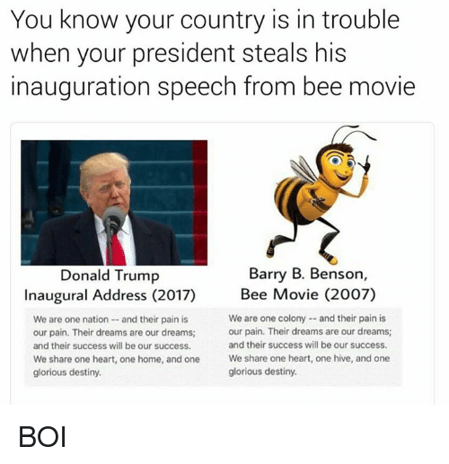 Bee Movie, Memes, and Glorious: You know your country is in trouble  when your president steals his  inauguration speech from bee movie  Barry B. Benson,  Donald Trump  Inaugural Address (2017)  Bee Movie (2007)  We are one colony and their pain is  We are one nation and their pain is  our pain. Their dreams are our dreams  our pain. Their dreams are our dreams;  and their success will be our success.  and their success will be our success.  We share one heart, one home, and one  We share one heart, one hive, and one  glorious destiny.  glorious destiny. BOI
