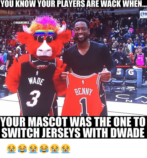 jerseys: YOU KNOW YOUR PLAYERS ARE WACK WHEN  FO  WADE  YOUR MASCOT WAS THE ONE TO  SWITCH JERSEYS WITH DWADE 😭😂😭😂😭😭