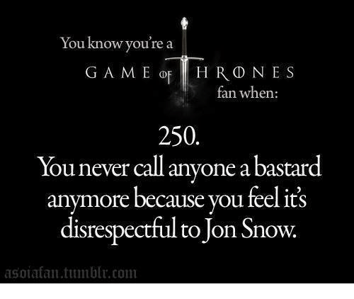 Memes, Jon Snow, and Snow: You know you're a  GAME op HHRD NES  ran when:  250.  You never call anyone abastard  anymore because you feel its  disrespectful to Jon Snow.  asoia fan com
