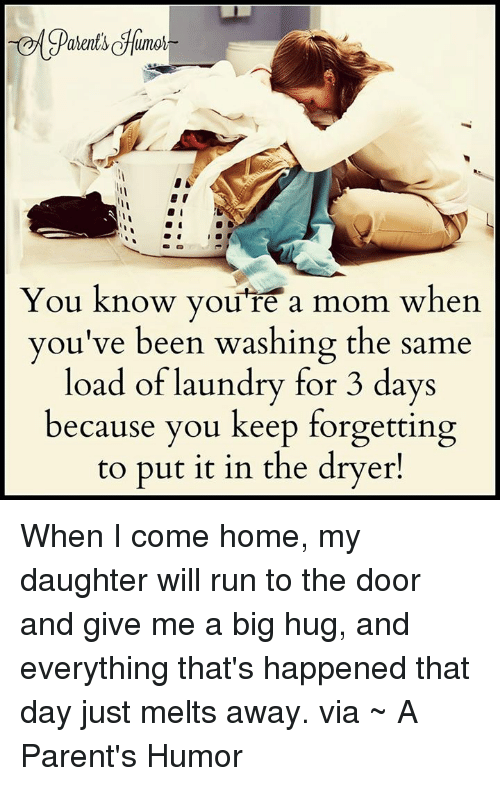 Parenting Humor: You know you're a mom when  you've been washing the same  load of laundry for 3 days  because you keep forgetting  to put it in the dryer! When I come home, my daughter will run to the door and give me a big hug, and everything that's happened that day just melts away.  via ~ A Parent's Humor