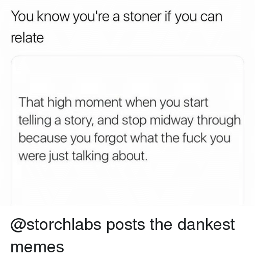 Fuck You, Memes, and Fuck: You know you're a stoner if you can  relate  That high moment when you start  telling a story, and stop midway through  because you forgot what the fuck you  were just talking about. @storchlabs posts the dankest memes