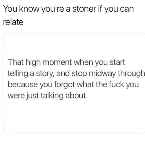 stoner: You know you're a stoner if you can  relate  That high moment when you start  telling a story, and stop midway througlh  because you forgot what the fuck you  were just talking about
