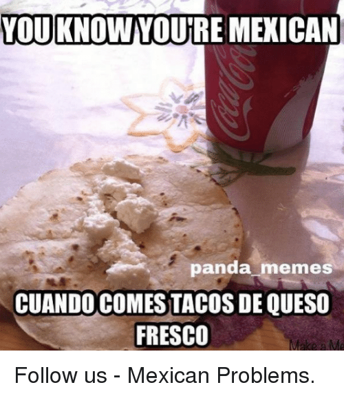 Meme, Memes, and Queso: YOU KNOW YOURE MEXICAN  panda memes  CUANDO COMES TACOS DE QUESO  FRESCO Follow us - Mexican Problems.