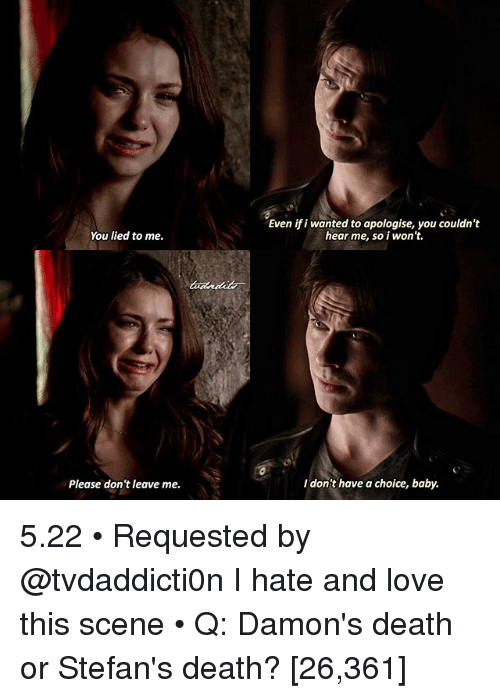 You Lied To Me: You lied to me.  Please don't leave me.  Even ifi wanted to apologise, you couldn't  hear me, so i won't.  don't have a choice, baby. 5.22 • Requested by @tvdaddicti0n I hate and love this scene • Q: Damon's death or Stefan's death? [26,361]